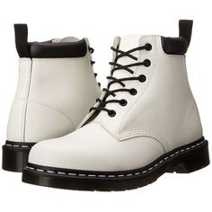 Dr. Martens 939 (White Smooth) Boots (665 ARS) ❤ liked on Polyvore featuring shoes, boots, ankle booties, white, ankle boots, short leather boots, short boots, platform booties, leather ankle bootie and white boots