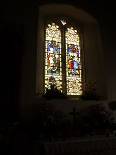 Beautiful stained glass window in the church at Harty.