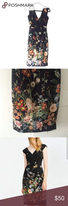 Zara Woman Dress New with tags! Never been worn. Black dress with a beautiful floral print. Wedding season is coming up! Perfect dress for weddings, bridal showers, date night, etc. Zara Dresses