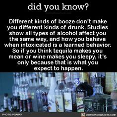 Different kinds of booze don't make you different kinds of drunk. Studies show all types of alcohol affect you the same way, and how you behave when intoxicated is a learned behavior. So if you think tequila makes you mean or wine makes you sleepy,. The More You Know, Good To Know, Did You Know, Wtf Fun Facts, True Facts, Odd Facts, Random Facts, Weird Science, Always Learning