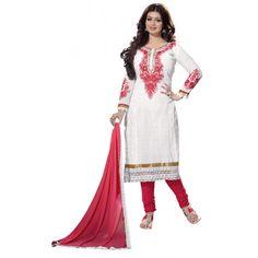 Eid Special Ayesha Takia In Designer Unstitched White & Red Embroidered Salwaar Suit-01(ST-Monali)Karishma
