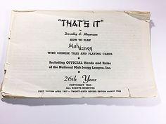1963 Dorothy Meyerson Thats It Mah Jongg Book NMJL.
