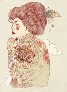 Os personagens tatuados de Liz Clements | Choco la Design