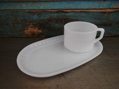 Federal Glass Snack Set Tray Milk Glass by turquoiserollerset, $8.00