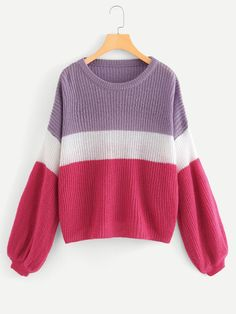 To find out about the Lantern Sleeve Color Block Jumper at SHEIN, part of our latest Sweaters ready to shop online today! Petite Sweaters, Casual Sweaters, Sweaters For Women, How To Wear Scarves, Colorful Fashion, Types Of Sleeves, Dress To Impress, Cute Outfits, Fashion Outfits