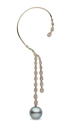 Rose gold diamond and Tahitian pearl ear cuff from YOKO London
