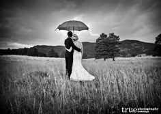 Black-and-White-Photo-of-Wedding- with YELLOW umbrella :)