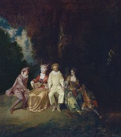 Glücklicher Pierrot - Jean Antoine Watteau als Kunstdruck oder handgemaltes Gemälde.
