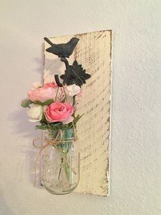 Hanging flower vase, shabby chic, garden nursery decor, chalk paint