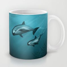 Mugs ••• Vaquita Porpoise • Critically endangered species art - Artist will donate 50% of her earnings from any sales of this item to Vaquita Recovery Fund. ♥