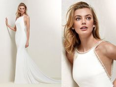 Pronovias | Sensual yet sophisticated, this mermaid crepe gown features beaded appliques around the neckline & back. We love this dress! Crepe Wedding Dress, Sexy Wedding Dresses, Elegant Dresses, Wedding Gowns, Casual Dresses, Prom Dresses, Seductive Dress, Beaded Appliques, Pronovias Wedding Dress