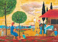 Yochanan Simon - Figures in the Kibbutz, Oil on canvas, 24X33 cm.