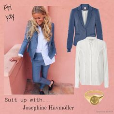 Styling by johanneappel - Hvisk Stylist Community. Suit Up with Josephine Havmøller  #hvisk #hviskstylist #hviskjewellery #outfit #jewellery #fashion #jewelry #gold #girl #Inspiration #josephinehavmøller #blazer #suit #suitup #pink #friyay #ring #emoji #white