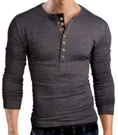- Material: 95% Cotton, 5% Spandex - Slim Fit Henley Shirts T Shirt Tops - Long sleeve henley shirt, featuring contrast color double seven-button placket and hem - Garment Care: Machine wash cold, Han