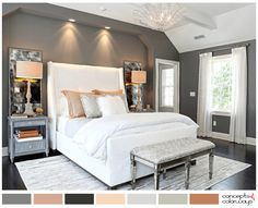 gray, white and peach bedroom color palette (pantone sharkskin)