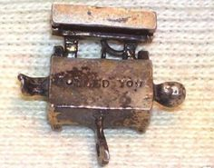 VTG ss 40s charm GIRL SAWED in HALF Charm OPENS to FOOLED YOU