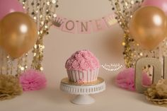 cake smash, cake smash session, pink and gold cake smash, first birthday, milestone session