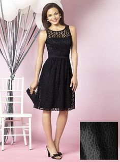 bridesmaid dresses by color | black lace bridesmaid dresses Modest A line Scoop Knee Length Black ...