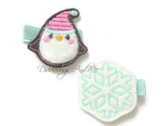 Penguin and Snowflake Hair Clips Penguin Hair by DiddlebugsAndMe