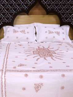 Ada Hand Embroidered White Cotton Lucknowi Chikankari Bed Sheet Set-01A42396 is three piece bed sheet comes with two matching pillow covers #Adachikan #Ada #chikankari #handcrafted #bedsheet #cotton #white #chikan #lucknowi #homedecor