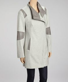 Light Gray Color Block Wool-Blend Coat #zulily #zulilyfinds