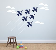 Looks like the famous Blue Angels!    Set of 6 cool military jet airplane wall decals ~ each measures 9 x 7 inches ~ includes 12 white clouds &