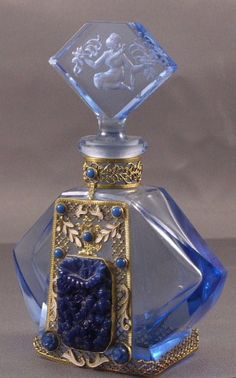 Vintage Blue Czech Perfume Bottle