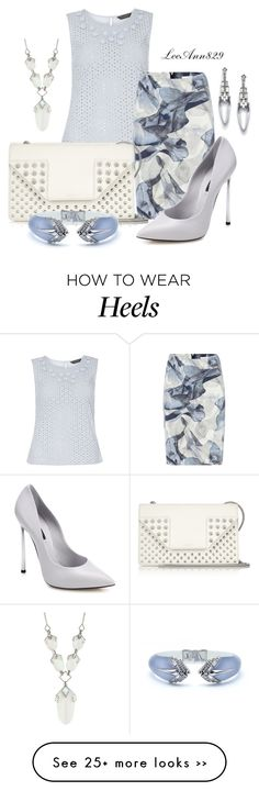 """""""wear it in printed pencil skirt"""" by leeann829 on Polyvore featuring Dorothy Perkins, HUGO, Alexis Bittar, Yves Saint Laurent and Casadei"""