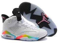 new arrival 05afb fd711 Nike Air Jordan 6 Women Shoes In White Black Pink Yellow