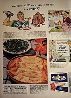Clarence Birdseye was born in Brooklyn, New York in 1886 and had a interesting early career as a naturalist. Vintage Ephemera, Vintage Ads, Vintage Scrapbook, Magazine Ads, Vintage Advertisements, Baby Food Recipes, Cod, Dinners, Frozen