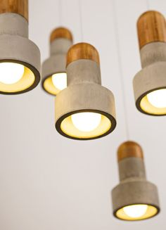 concrete and timber lighting. with LED bulbs I hope.
