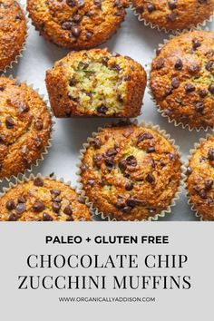 These Paleo Zucchini Muffins are light, fluffy and have the best flavor and texture. They are quick and easy. These gluten free muffins are great for a healthy breakfast, easy snack, or even dessert. They are so delicious! This recipe is Paleo, Grain Free and Gluten Free! Paleo Zucchini Muffins, Zucchini Breakfast, Zucchini Chocolate Chip Muffins, Paleo Carrot Cake, Paleo Chocolate Chips, Healthy Muffins, Healthy Chocolate, Healthy Breakfast Recipes, Paleo Recipes
