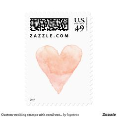 Custom wedding stamps with coral watercolor heart Custom wedding stamps with coral pink watercolor heart Water color stained love heart symbol postage stamps. Cute handdrawn painting design for elegant wedding party, chic bridal shower, classy engagement, lovely anniversary etc. Perfect for romantic summer beach theme or rustic country chic garden style marriage. Blank print personalize with rsvp, save the date, thank you message, name or monogram of bride and groom. Also as 34 49 70 91 98…