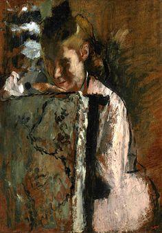 Jeune fille assise appuyée au dossier d'un fauteuil ~ Edgar Degas ~ (French, 1834-1917)