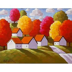 White cottages and colorful fall trees on a countryside road, you can own this one of a kind painting, featuring vibrant colors and an abstract folk style that is unique to this original art piece. ____________________________________________________________  TITLE: Abstract Road Cottage Trees  SIZE: 14 x 18  MEDIUM: Acrylic paint on stretched canvas  STYLE: Abstract Folk Impressionism  SUBJECT: Landscape  DETAILS: Painting has staple-free sides, the sides have been painted so that the front…