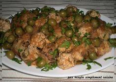 Salam Alikoum/ Bounjour Une recette bien simple aujourd'hui mais très savoureuse. Avec ce plat, j'ai retrouvé un mélange des deux plats typiques d'Alger le tajine zitoun (tajine aux olives) et la chtit'ha djaje (tajine de poulet en sauce rouge). Une magnifique... Ramadan, Sprouts, Dishes, Meat, Chicken, Vegetables, Hui, Simple, Dumplings