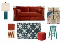 olioboard teal and rust turquoise orange red color combo fall
