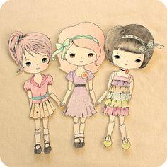 Download pdf para imprimir: Bonecas:  Penelope, Prudence e  Rown. Fonte: gingermelondolls.blogspot.pt