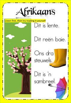 Week 16 - Thursday - Afrikaans worksheet 1st Grade Worksheets, Phonics Worksheets, Afrikaans Language, Reading Help, Writing Exercises, School Subjects, School Resources, Your Teacher, Grade 1