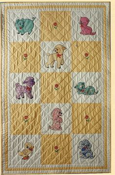 Authentic 1920s Embroidered Baby Crib QUILT Vintage CAT & DOG 32 x ... : vintage baby quilt - Adamdwight.com
