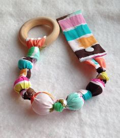 Palette Tula snap teether, Tula Teether, baby teething toy, Paint Brush fabric teething ring, fabric teether, wood teething ring on Etsy, $12.99