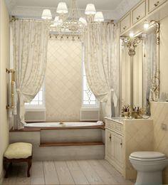 Deco Baroque, Claw Foot Bath, Decoration, Bathtub, Bathrooms, Design, King, Full Body Mirror, Curtains