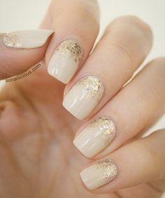 Cream & Gold Nails