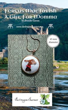 The second in the Fergus MacTavish storybook sewing pattern series. A Gift For Momma, is an embroidery design for a portrait of Fergus MacTavish,