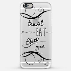 @casetify brings you this Travel Eat Sleep Repeat #phonecase! available for iPhones or Android devices. #CustomCase Custom Phone Case | Casetify | Typography | Black & White | Transparent  | Love Lunch Liftoff