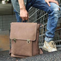 75de4cd92888 Cool Mens Leather Backpack Travel Backpacks Laptop Backpack for men