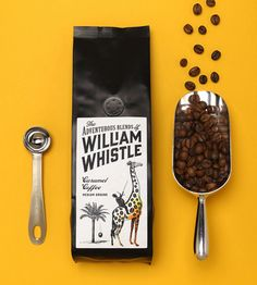 Logo and packaging design with illustrative detail by Horse for tea and coffee merchant The Adventurous Blends Of William Whistle. Food Packaging Design, Coffee Packaging, Coffee Branding, Bottle Packaging, Product Packaging, Packaging Ideas, Coffee Shot, Chocolate Packaging, Coffee Photography