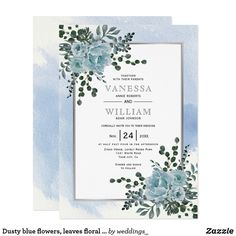 Dusty blue flowers, leaves floral winter wedding invitation