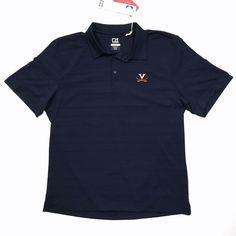 Cutter & Buck Virginia Cavaliers Large CB DryTec Polo Shirt UVA Navy Blue SS #CutterBuck #PoloRugby
