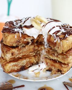 Caramelized Coconut Banana Bread Waffle French Toast. #cooking #food #recipes